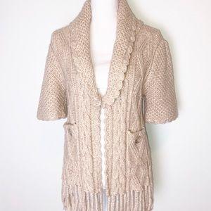 Olivia & Grace Chunky Knit Fringe Wool Cardigan